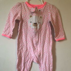 child of mine Pajamas - Neon hot pink leopard print pjs. Teddy bear foot
